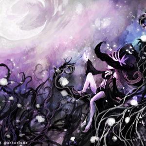【黒い森の魔女ネリエル】夢想家である彼女は、夜な夜な戯言のように歪な月を描いては、黒い幹に白い花を咲かせて魔力を増幅させている(お題:「魔女」「人を寄せ付けぬ森」) 2015.09.13