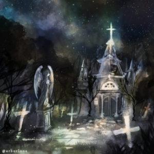 おいで迷い子、安らぎ満ちる最後の家に。信じた希望はこんな暗い夜でしか見えないと、ここに至り着くまでによく分かったことでしょう? さぁ、足元に気をつけて――(お題:「名も無き教会」) 2015.10.13