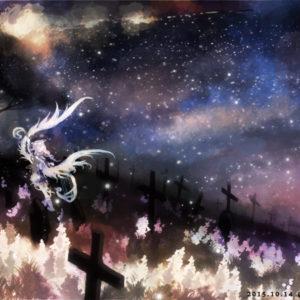 地上に蔓延る命の光。願い、育ち、輝き続けた彼らはああ、今やこんなにも明るい。もう導となる天の星は必要ないのでしょうね……?(お題:「吟遊詩人」「弔いの場所」) 2015.10.14