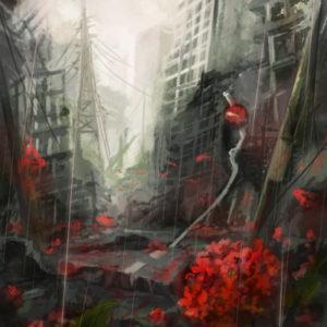 憂鬱な雨の中でくるり遊魚が踊る中、血煙りの中でゆるり紫陽花が腐りゆく。そこはもう廃墟、血色の都(お題:「血の都」)  2015.12.30