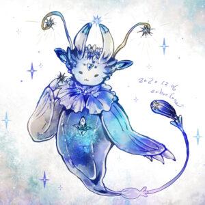 キラキラ星は凍らせた氷菓子がおいしいの (お題:「恒星/衛星の擬人外化」「バッカルコーン」「カーバンクル」) 2020.12.06